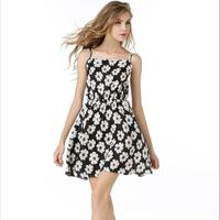 Summer New Women Casual Bohemian Floral Spaghetti Strap Dresses Printed Daisy Girl Beach Chiffon Dress Woman