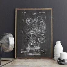 Гоночный велосипед запатентованный принт Велоспорт произведение искусства велосипед стены искусства холст живопись плакаты домашний декор комнаты винтажная схема идея подарка