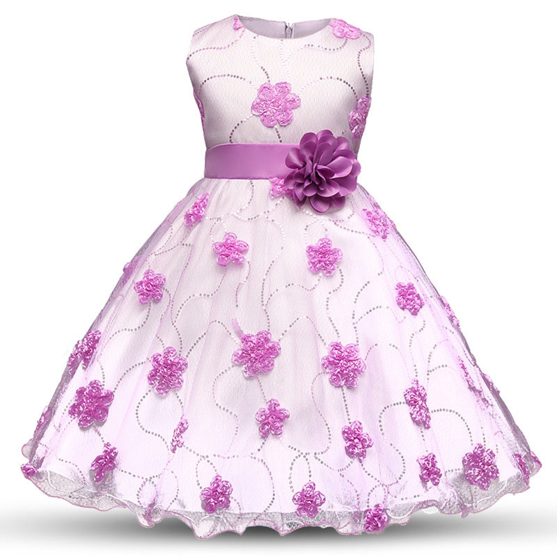 Fashion Flowers Tulle Belt Thin Tight Dress Cute Girl Foral Knee-Length Dress Kid's Children Casual Clothes Pink Purple White tulle trim layered knee length tee dress