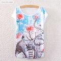 2017 Nova Marca de Poliéster T-Shirt Das Mulheres t-shirt de Manga Curta o pescoço Causal impressão Elefante Menina t shirt tops de Verão para as mulheres