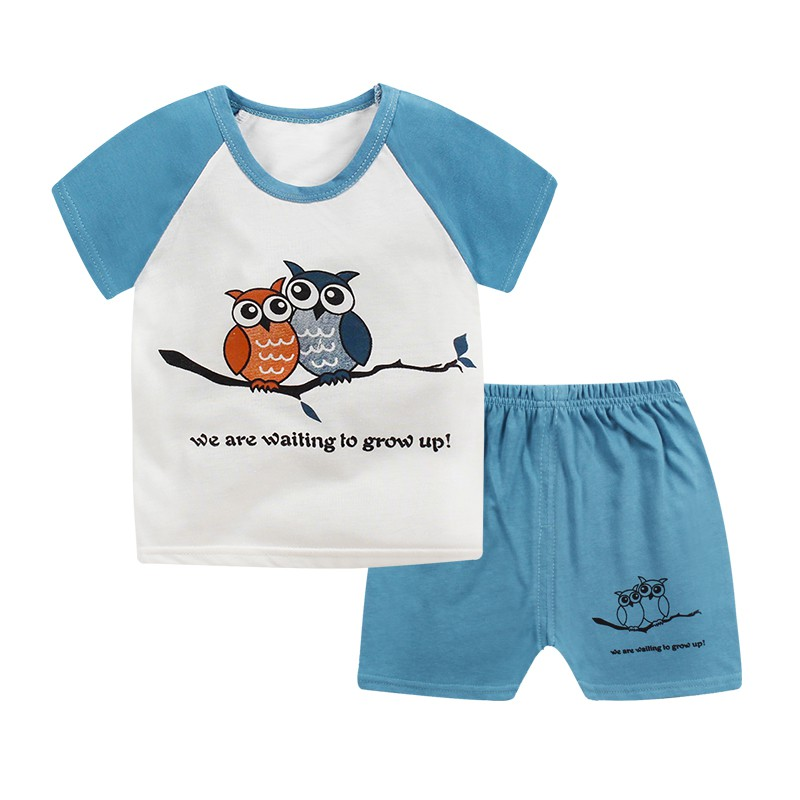 Summer Kids Boys Girls Casual Cute Cotton Star Pattern Short Sleeve T-shirt Tops + Shorts Pants Summer Children Clothes Sets