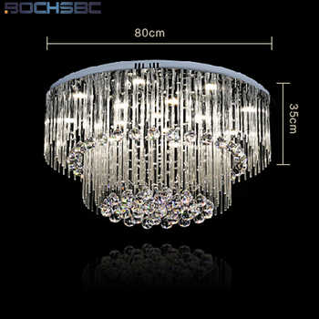 BOCHSBC K9 Crystal Chandeliers Lights Fixture LED Round LED Suspension Luminaire Modern Pendant Ceiling Lustre Plafondlamp Light