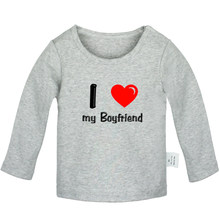 I Love My Boyfriend Girlfiend Couple Funny Valentine's Newborn Baby T-Shirts Toddler Graphic Long Sleeve Solid color Tee Tops(China)