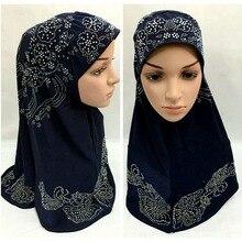 Последний стиль ассорти цветов Стразы длинный мусульманский хиджаб и исламский шарф ML086