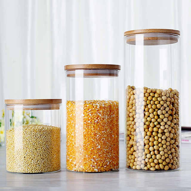 High borosilicate glass Jars with bamboo lid For Storage Container
