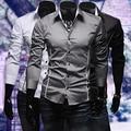 2016 Новое Прибытие Моды для Мужчин Роскошные Вскользь Уменьшают Подходящие Длинным Рукавом Flanger Офис Рубашка Топы