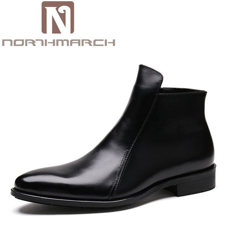 NORTHMARCH Autumn Winter Shoes Men Genuine Leather Ankle Boots New 2018 Brand Comfortable Winter Men's Chelsea Boots Wine Red braun silk epil 5 5 531 wet & dry эпилятор