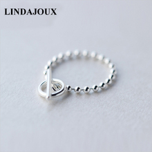 LINDAJOUX 925 Sterling Silver OT Buckle Beaded Chain Ring Fo