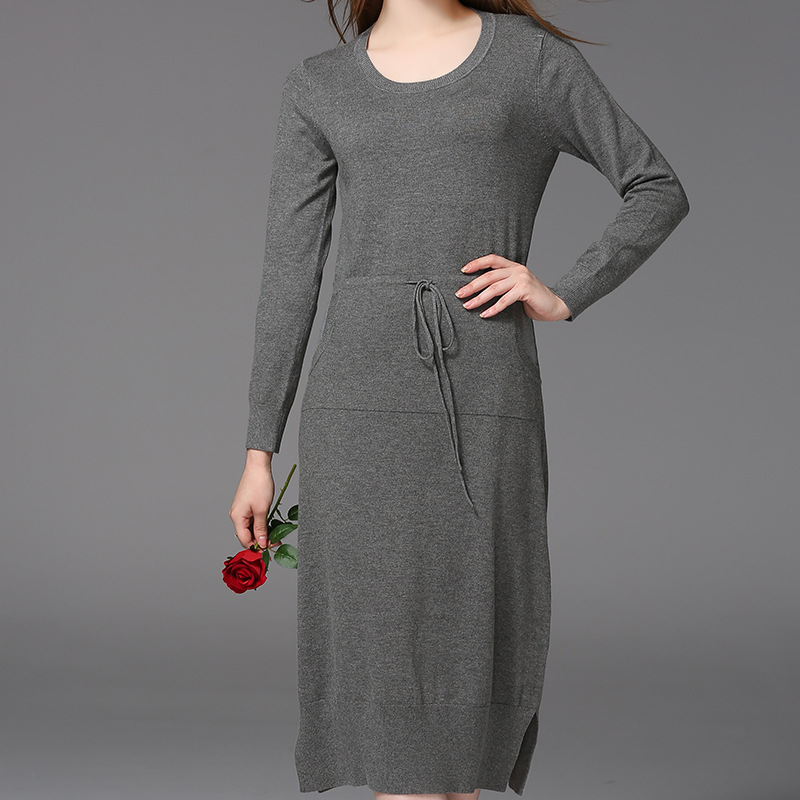 HMCHIME 2017 Autumn winter women knitted dress fashion sexy slit hem elastic waist long sleeve round collar woman dress HM671 chic round collar long sleeve lace hem slit black dress for women