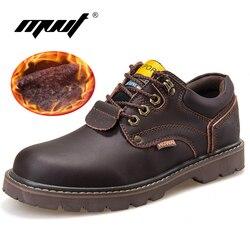 Мужские ботинки из натуральной кожи, классические рабочие ботильоны, мужские зимние ботинки из нубука, осенняя Рабочая обувь