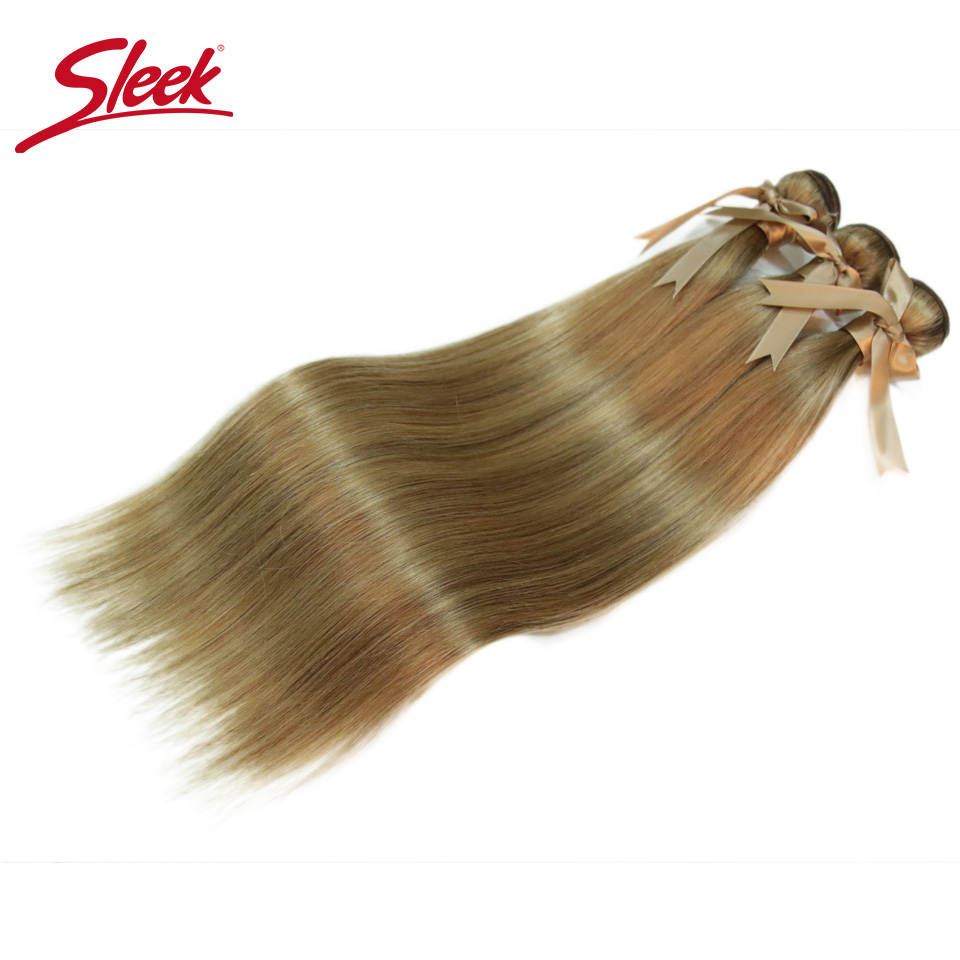 Sleek Remy P6/<font><b>22</b></font> P27/613 P8/<font><b>22</b></font> Piano Color Peruvian Hair <font><b>Bundles</b></font> 8 To 24 <font><b>Inches</b></font> Straight Human Hair Extension Blonde Hair Weave image