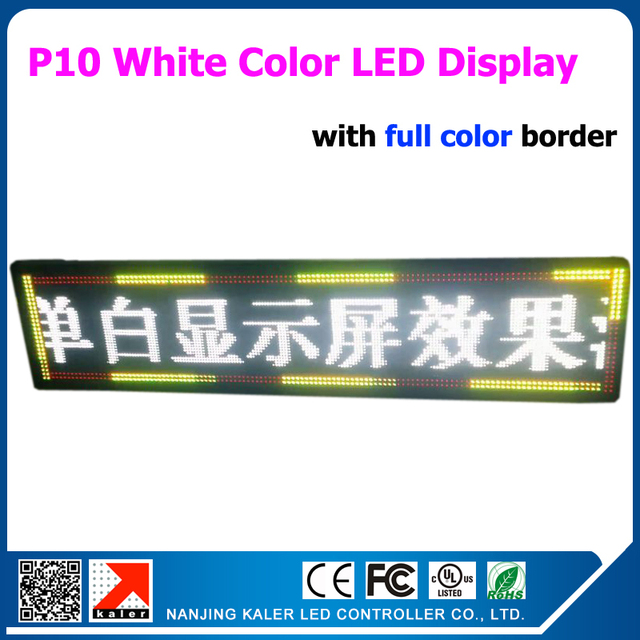 White LED Sign Board Mulit-Languages Scrolling Display Screen Programmed 49*241cm P10 White LED Message Sign Full Color Border