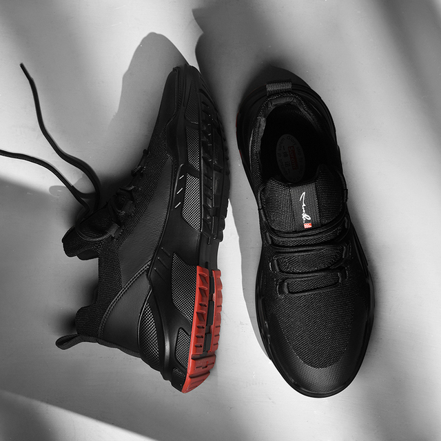 SUROM Running Shoes For Men Summer Sneakers Breathable Mesh Outdoor Sport Shoes Men Increase Black  Upper Lace Up Male Shoes