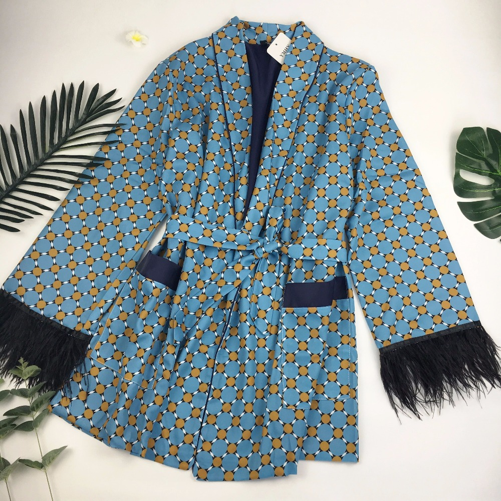 toppies 2020 Blue Printed Kimono Jacket with Feather Sleeves Wide Leg Loose Cuasal Trousers Women Vintage