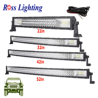 Tri row Cuvred 20 34 42 50 52inch LED Bar Offroad LED Work Light Bar for Tractor Boat 4WD 4x4 Car Truck SUV ATV PK288W 300W