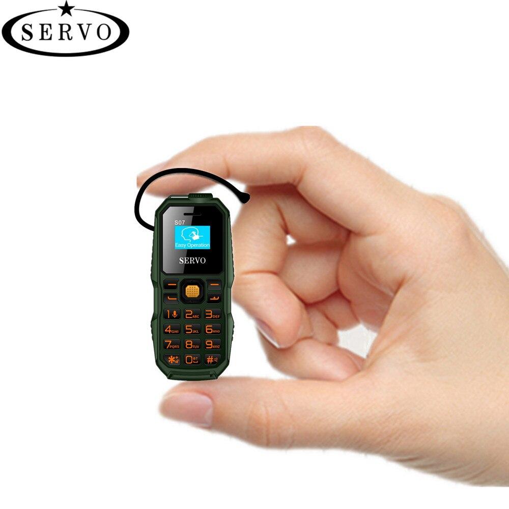 Téléphone d'origine SERVO S07 Plus Petit Mini Téléphone Portable Sans Fil Bluetooth Écouteur Ultra Faible Rayonnement Bluetooth Dialer Téléphone Dual SIM