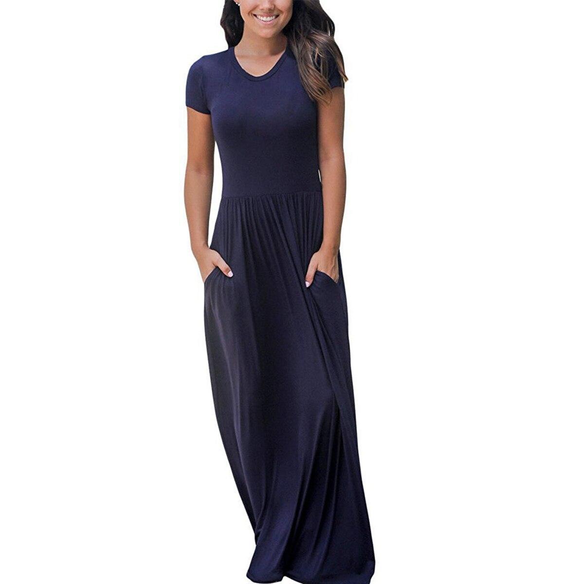 Женское хлопковое Макси платье Лето повседневное свободное однотонное Винтажное с круглым вырезом элегантные длинные платья в пол большие...