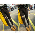 6876 # Korean style of the female students stretch jeans Slim thin feet pencil pants knee hole