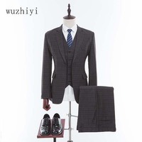 wuzhiyi Tweed Suits Custom Made Men Suit business Groom Tuxedos Tailor Groomsman Slim Fit Wedding Suits For Men 3 Pieces suits