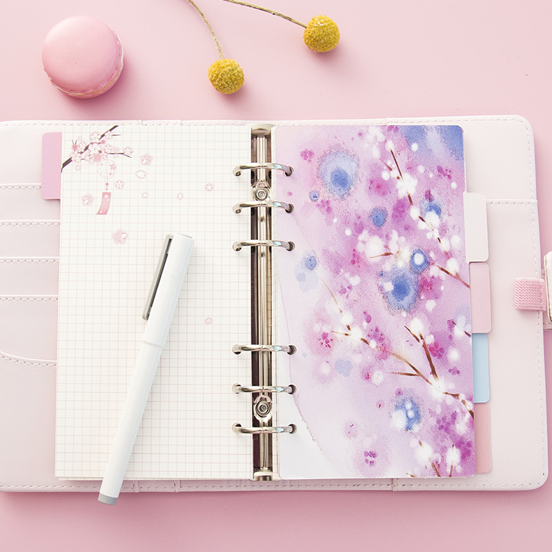 Yiwi 5 Sheets/Pack A5 A6 Loose Leaf Index Paper Category Page Sakura Separator Separation Divider Page for Notebook Lahore