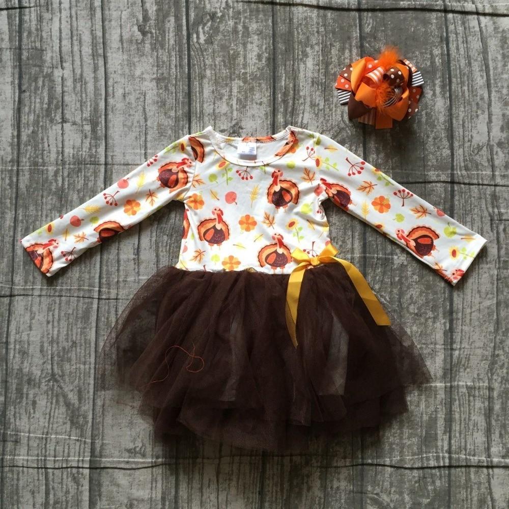 new 2018 Thanksgiving fall/winter dress brown turkey print Yarn skirt milk silk dress kids wear girls boutique clothing with bow цена 2017