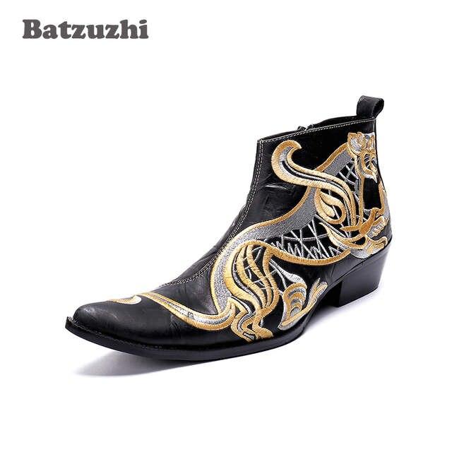 60ee38e1b3b US $90.72 44% OFF|Batzuzhi Italian Brand Men Boots Pointed Toe Autumn  Winter Leather Boos Men Super Star Rock Dress Boots Men zapatos de  hombre-in ...