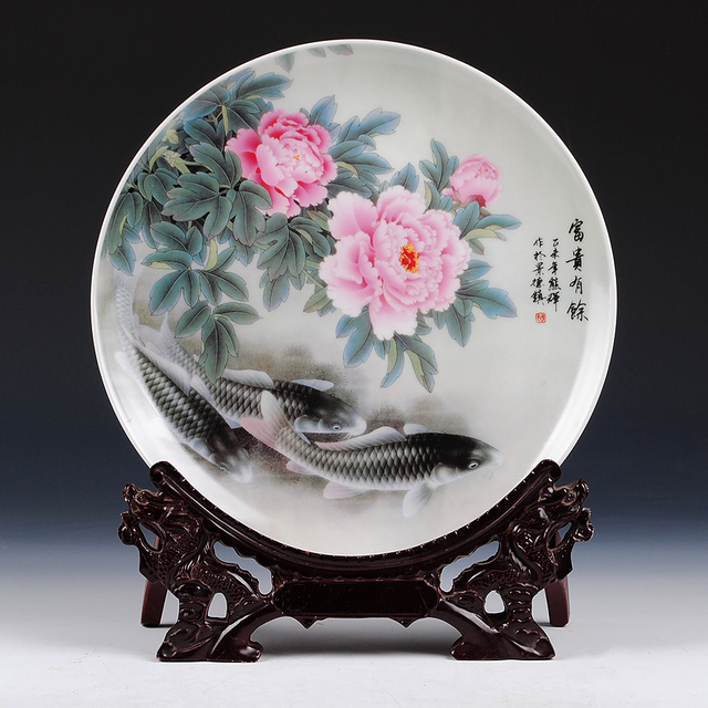 2016 VintageHome Decor Ceramic Ornamental Plate Chinese Decoration Dish Plate Wood Base Porcelain Fish Plate Set & 2016 VintageHome Decor Ceramic Ornamental Plate Chinese Decoration ...