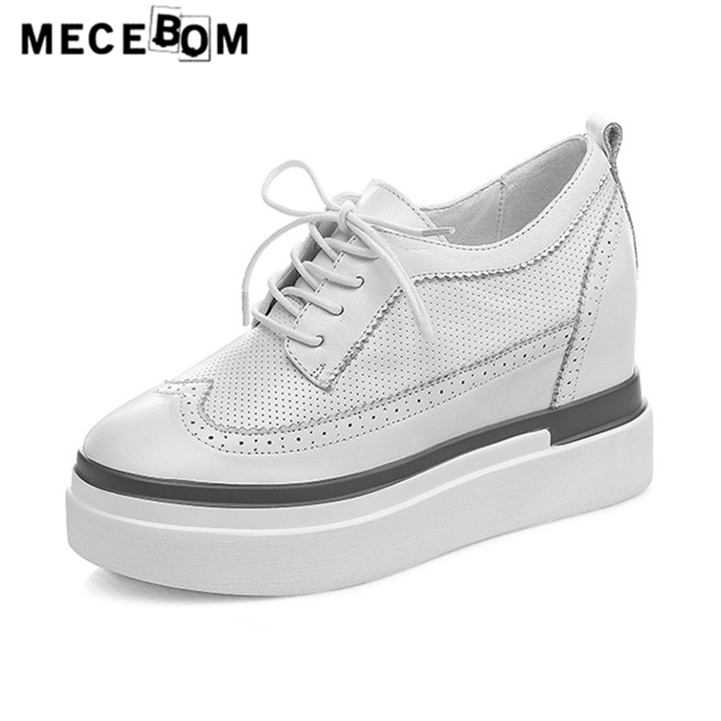 Women brogue shoes fashion Height increasing shoes for lady lace-up flats black white leather shoes sapato feminino 1863w flats oxford shoes for woman genuine leather custom made lace up black brogue shoes for women chaussures femme scarpe donna