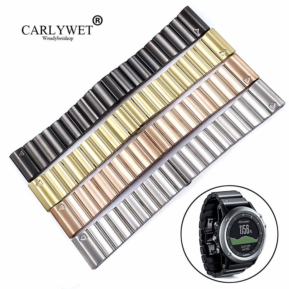 Bracelets de montre de rechange en acier inoxydable 316L CARLYWET 26mm boucles Bracelets avec outils de groupe pour Garmin Fenix 3 HR 5X