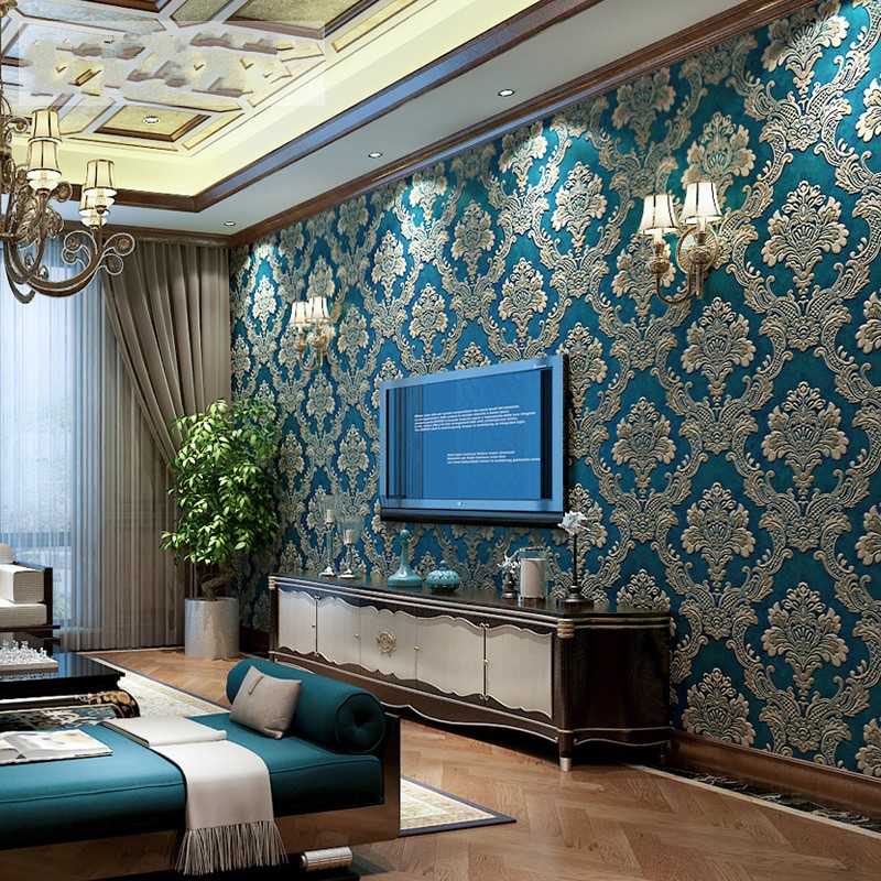 beibehang friendly non-woven wall paper background living room bedroom blue wallpaper European relief Damascus papel de parede