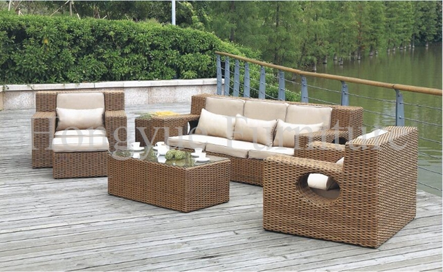 Jardín exterior rattan sofa furniture set con cojines