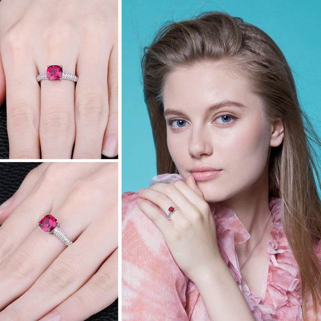 JewelryPalace Cuscino 2.6ct Creato Rosso Rubino Solitaire Anello di Fidanzamento In Argento Sterling 925 di Promozione di Fidanzamento Anello di Cerimonia Nuziale