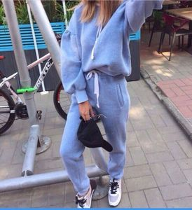 hot sales Europe style solid hooded woman fleece sets  2 piece pants elastic waist long sleeve sets female street wear holiday