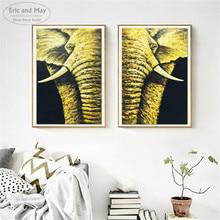 купить Elephant 2Pcs Set Gold Artwork Posters And Prints Wall Art Canvas Painting For Living Room Decoration Home Decor Unframed онлайн