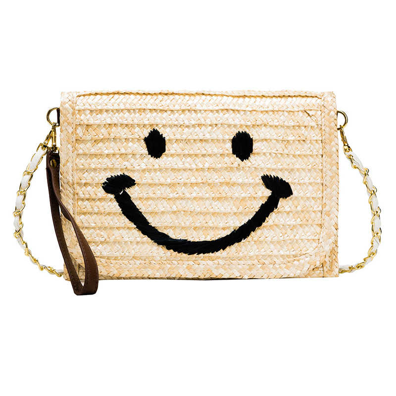 Moda Smiley Dos Desenhos Animados de Palha Senhoras Férias de Verão Envelope Clutch Crossbody Saco Do Mensageiro Das Mulheres Bolsa Bolsa de Ombro Bolsa Saco