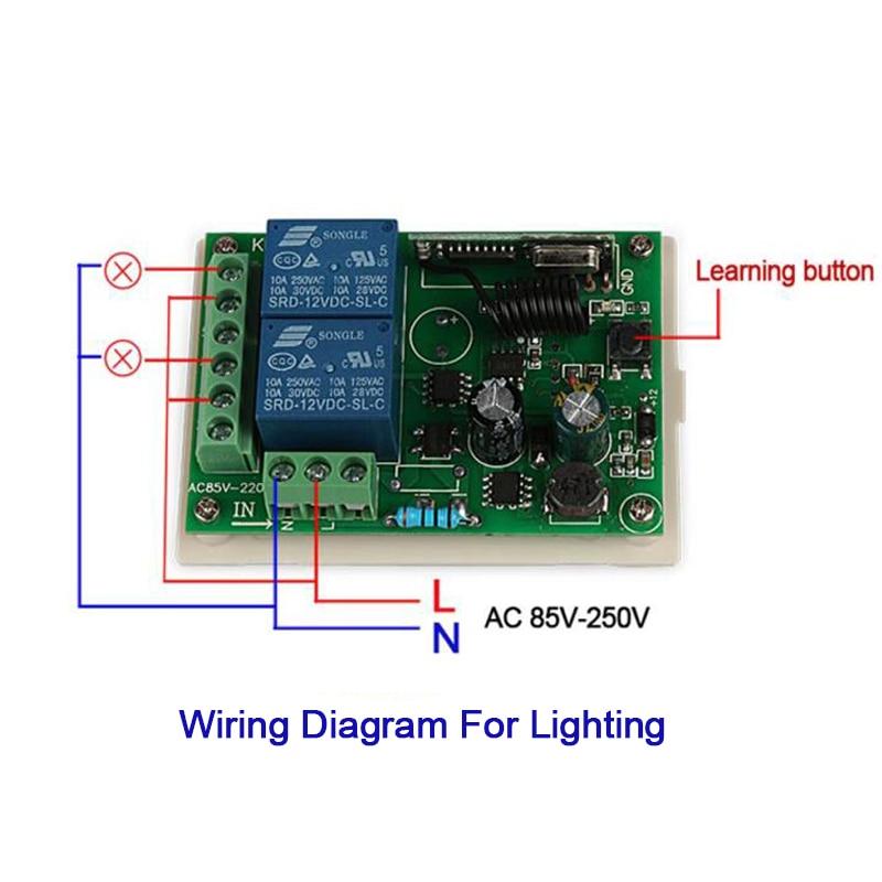 QIACHIP 433 MHz interruptor de Control remoto transmisor interruptor de Control Remoto + RF de receptor de Control remoto de lámpara de techo de luz