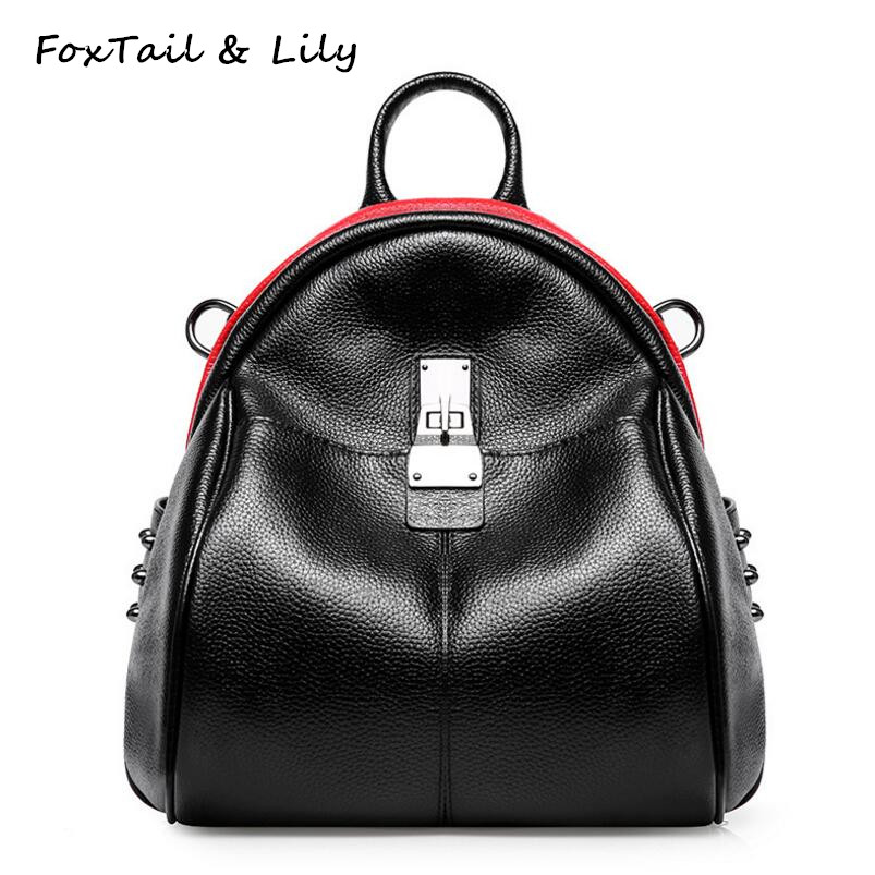 FoxTail & Lily Fashion Rivets Women Genuine Leather Backpack Lock Design School Bags for Teenager Girls New Trendy Shoulder Bags new brand designer women fashion backpacks simple koran style school for teenager girls ladies shoulder bags black