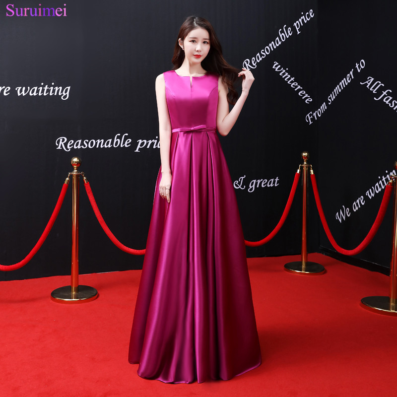 2018 New Arrival Rose Red Evening Dresses Satin Floor Length Elegant Sash With Bow Knot Front Corset Lace Up Long Evening Gown