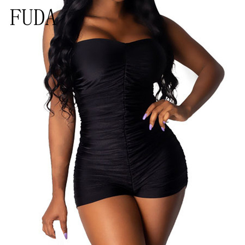FUDA Rompers Womens Sexy Sleeveless Off Shoulder Playsuits Elegant Hollow Out Bodycon Bandage Jumpsuits Summer Skinny Bodysuits Islamabad