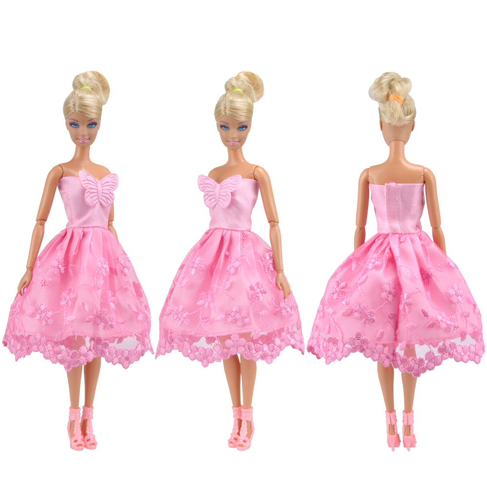 E-TING Dolls Garments Marriage ceremony Night Get together Gown Pink Lace Mini Skirt for Barbie Doll