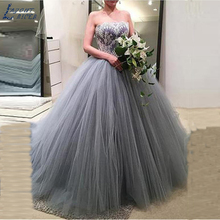 LAYOUT NICEB SHJ373 Boat Neck Ball Gown Wedding Dress Gown