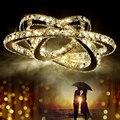 Anel de cristal círculos modernos led luzes pingente luminárias cerchio anello lampadario luminária suspendu anneau lâmpada