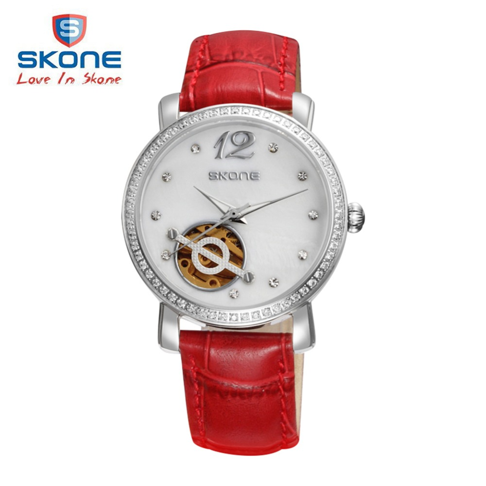 SKONE Dress Skeleton Women Automatic Watches Top Brand Luxury Leather Diamond Ladies Watch Relogio Feminino Montre Femme Hodinky стоимость