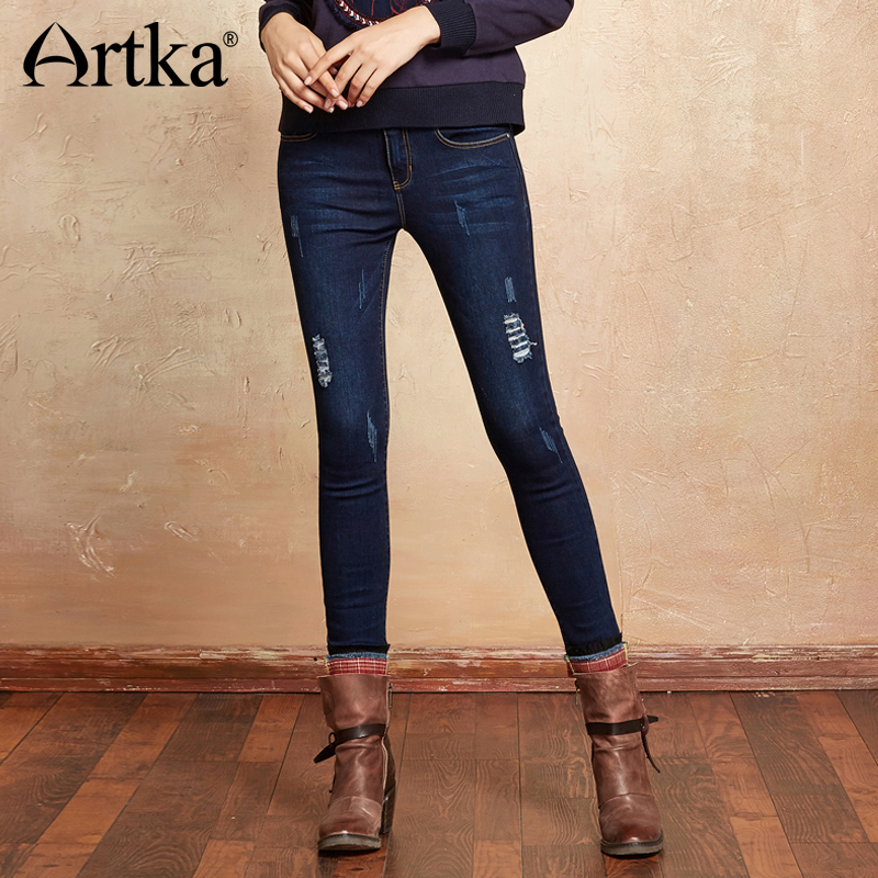 Artka 2018 Summer Light Washed Ripped Spliced All-Match Vintage Stripe Tight Straight Long Jeans KN11274Q ripped tight jeans