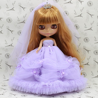 T02-X066 Blyth Doll clothes 1/6 dolls Accessories Joint body handmade girl summer wedding dress pink purple