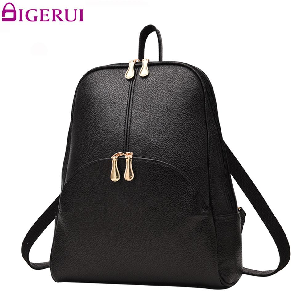 DIGERUI Backpack Pu Backpack Women Leather Backpacks Softback Bags Bag Preppy Casual Backpacks Teenagers Women's Bag A1632