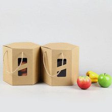 100pcs/lot 24*24*22cm Fashion Big Size Hexagon Kraft Paper Biscuit Fruit Pacakging Box Gift Food Storage Packaging ZA5128