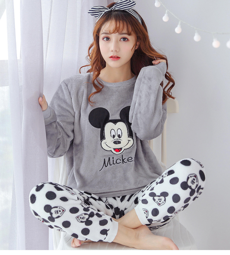 JRMISSLI Flannel Winter Women's   Pajamas     Pajama     Set   Home Wear Long Sleeve Cartoon Pijama   Set   Sleepwear Women Pyjamas