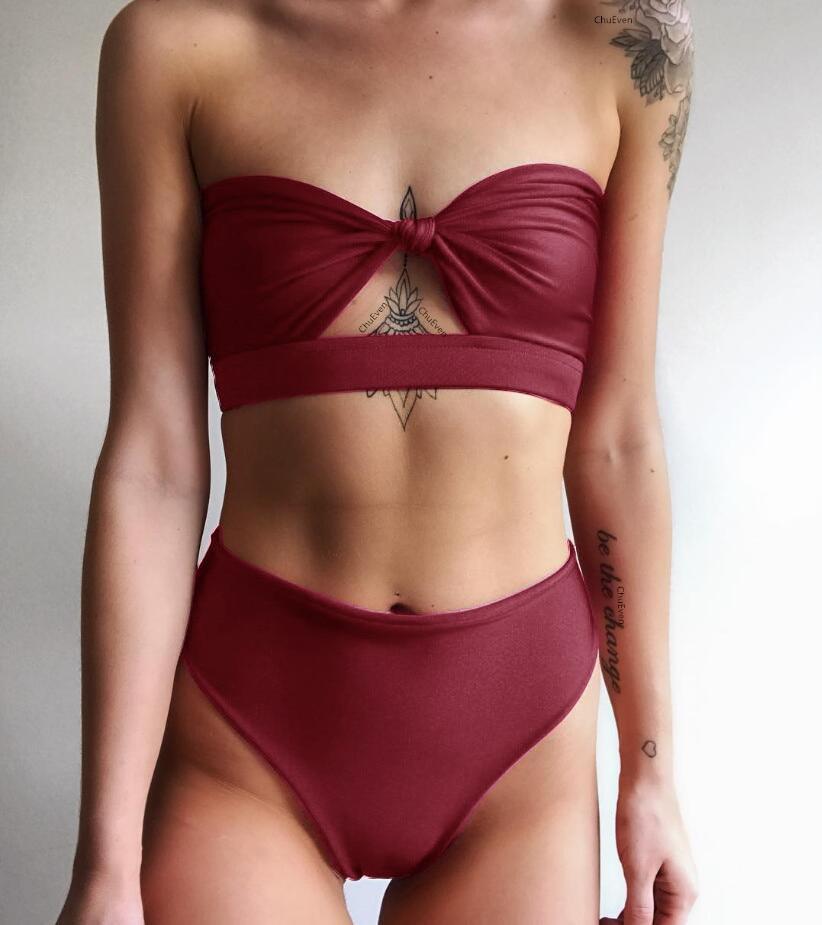 2018 summer sexy Bikini women Swimwear solid yellow swimsuit for women wine red bikini brazilian bikini set Bandage bathingsuit