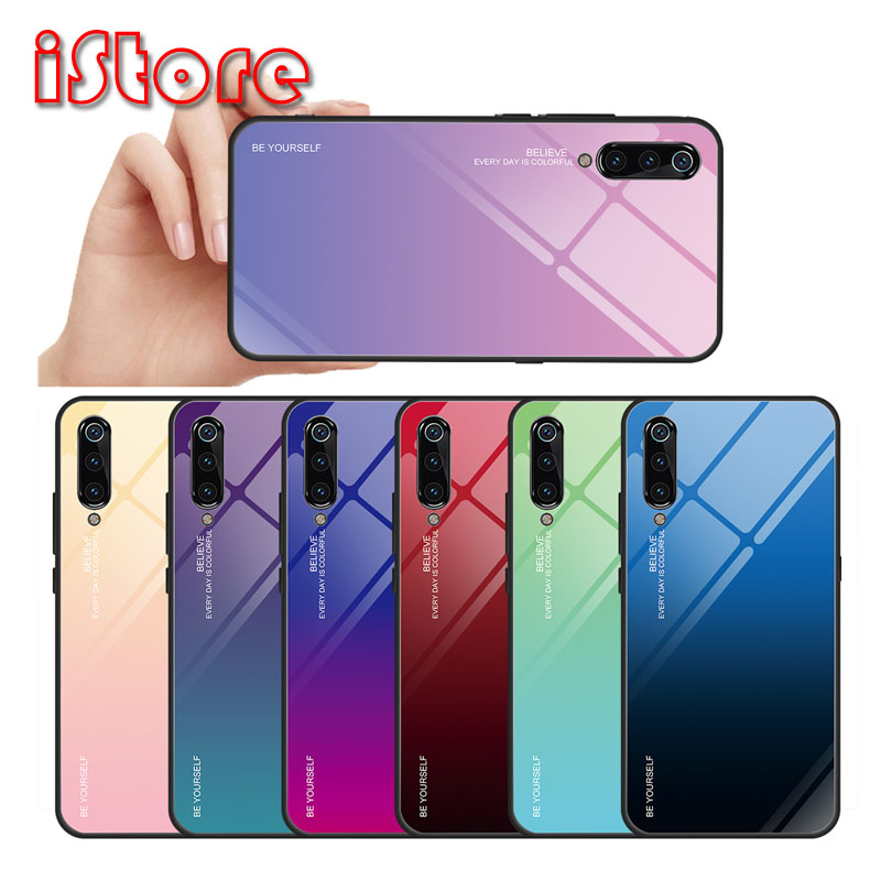 TPU soft edge Gradient glass back phone case for xiaomi 6 mi9 Pocophone F1 9T protective case